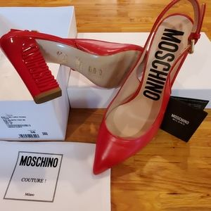 Moschino Couture Red Logo Engraved Slingback Pumps